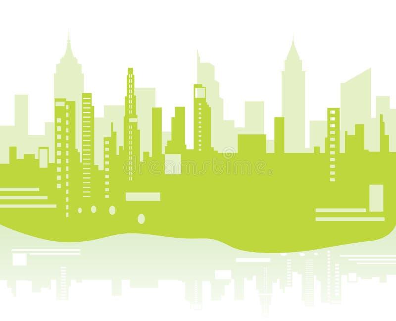 Groene stadsachtergrond stock illustratie