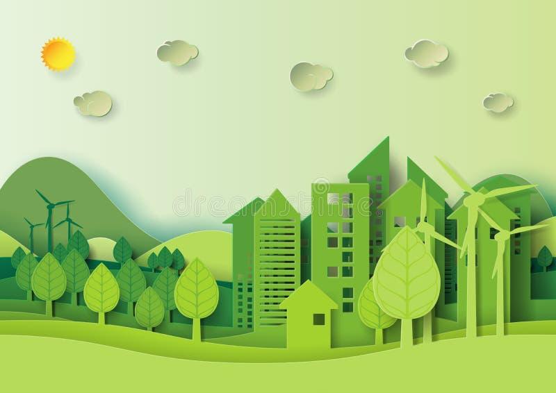 Groene stedelijke stad en bos het document van het milieuconcept kunststijl stock illustratie