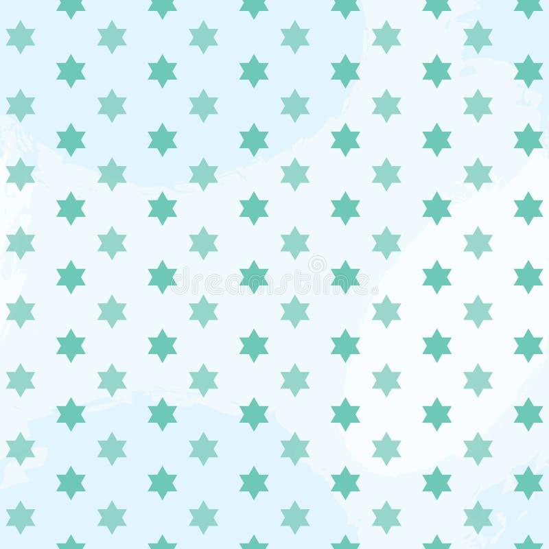 Groene Ster van het naadloze patroon van David royalty-vrije illustratie
