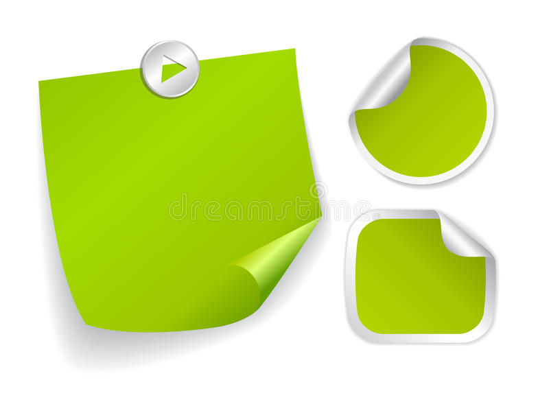 Groene stickers stock illustratie