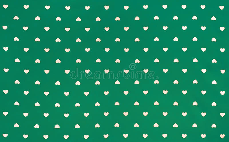 Groene Stof met wit hartenpatroon, achtergrond, retro stijl royalty-vrije stock foto's