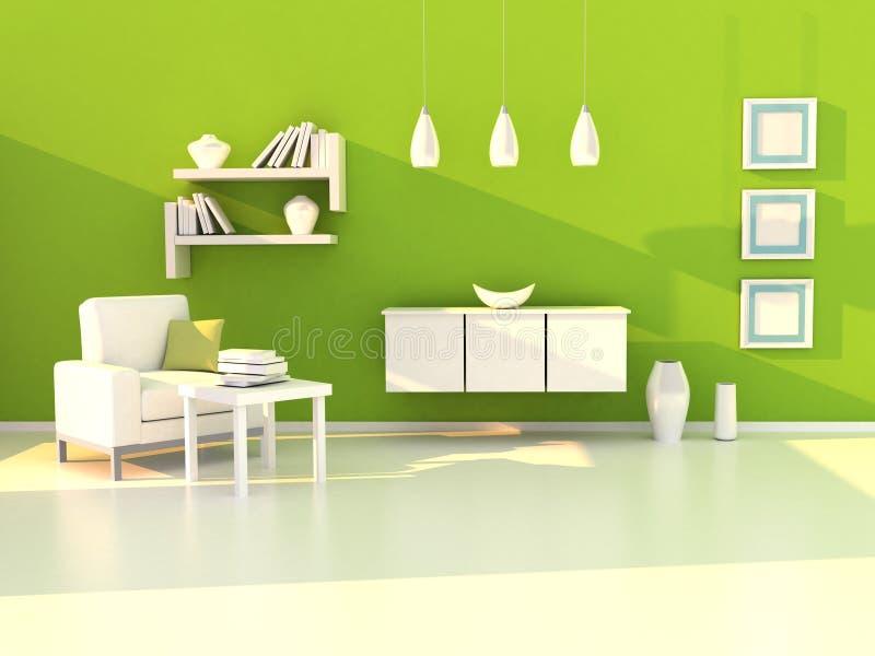 Groene studieruimte, moderne ruimte, woonkamer stock illustratie