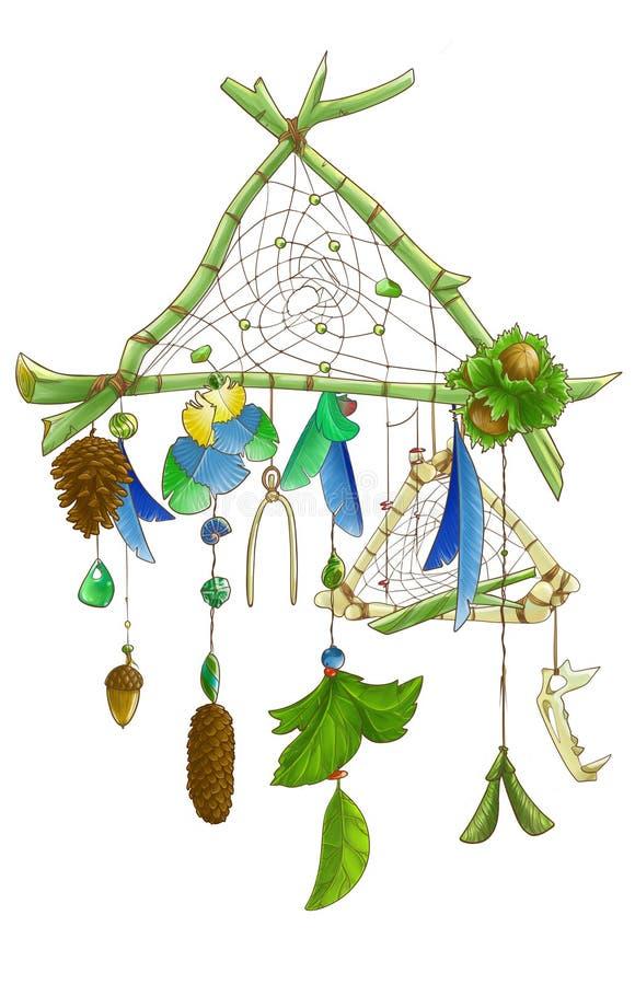 Groene tak dreamcatcher met pinecones royalty-vrije illustratie