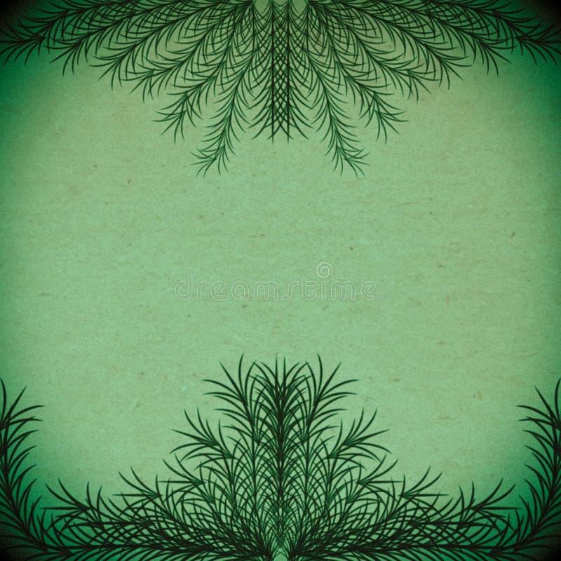 Groene takken die een kader op een oude document textuur vormen royalty-vrije illustratie