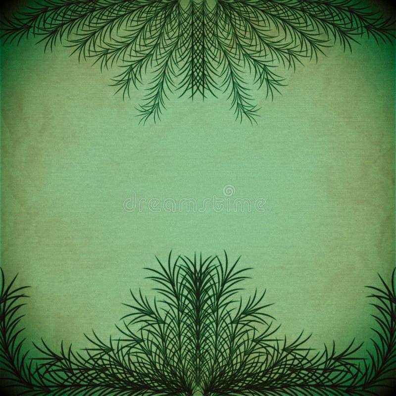Groene takken die een kader op een oude document textuur vormen stock illustratie