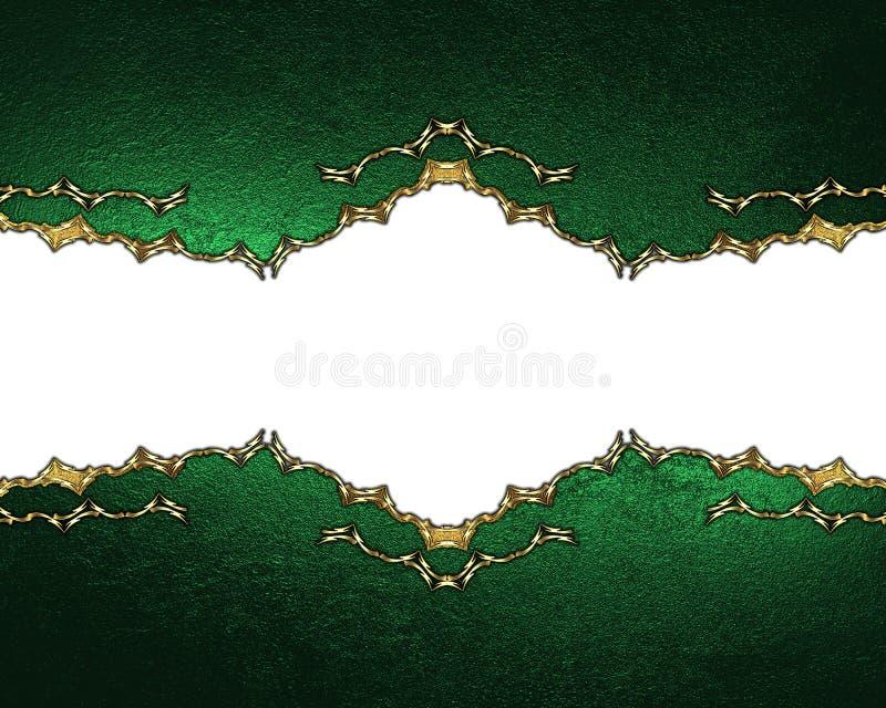 Groene textuur met gouden ornamenten Element voor ontwerp Malplaatje voor ontwerp exemplaarruimte voor advertentiebrochure of aan royalty-vrije stock afbeelding
