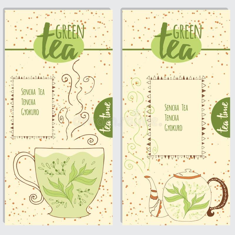 Groene thee: eigenschappen en gezondheidsvoordelen royalty-vrije illustratie
