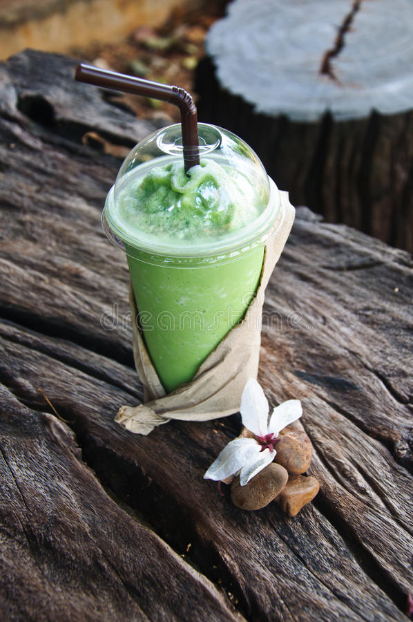 Groene thee frappe stock afbeelding