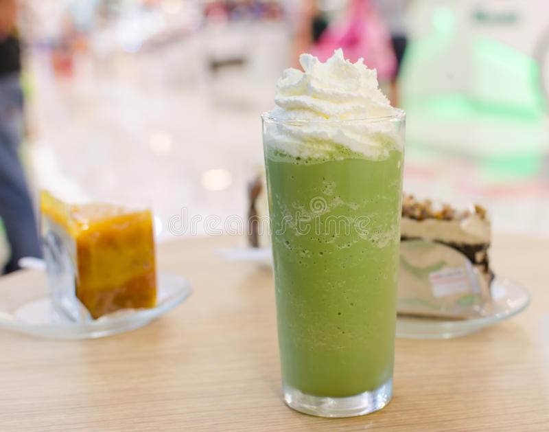Groene thee smoothie royalty-vrije stock fotografie
