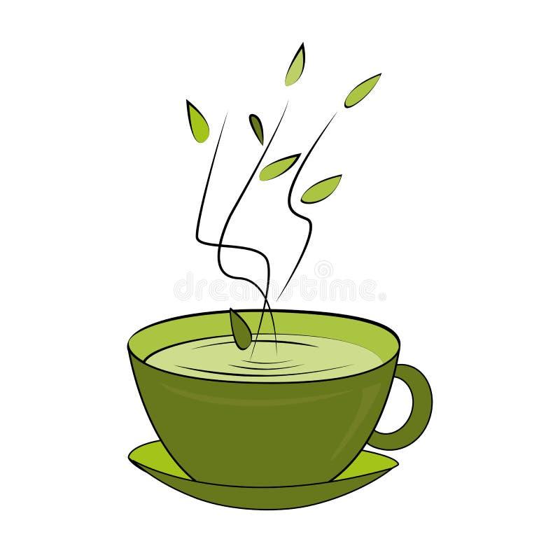 Groene theekop Vector illustratie Hete ruikende thee in ceramische kop royalty-vrije illustratie