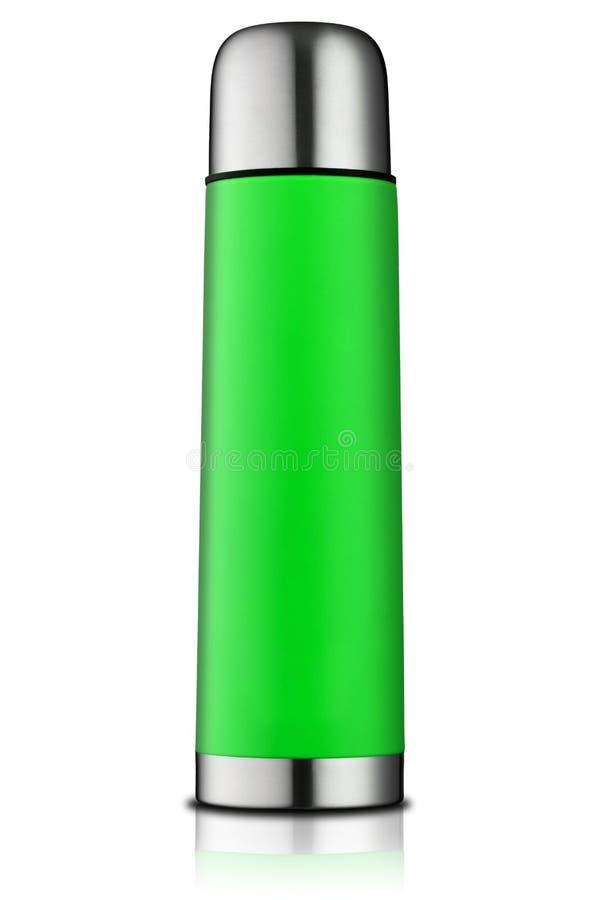 Groene thermosfles royalty-vrije stock fotografie