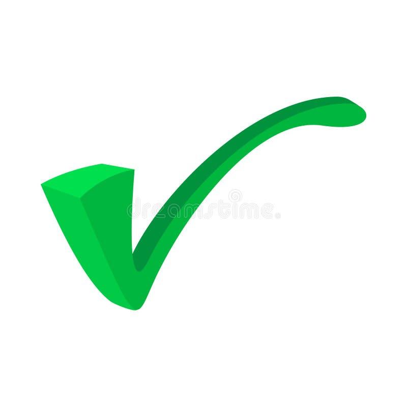 Groene tik, vinkjepictogram, beeldverhaalstijl vector illustratie