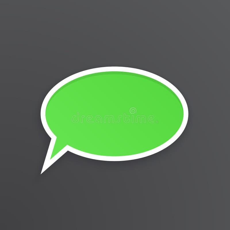 Groene toespraakbel voor bespreking bij ovale vorm vector illustratie