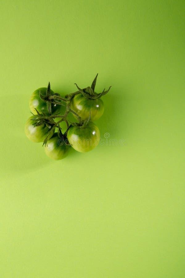 Groene tomaat op groen, conceptueel voedsel royalty-vrije stock afbeelding