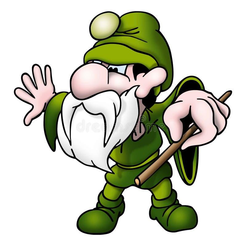 Groene tovenaar met toverstokje vector illustratie