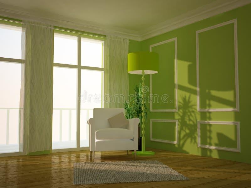 Groene traditionele zitkamerruimte stock illustratie