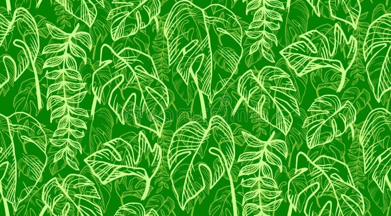 Groene tropische bladeren in het vector naadloze patroon van de schetsstijl royalty-vrije illustratie