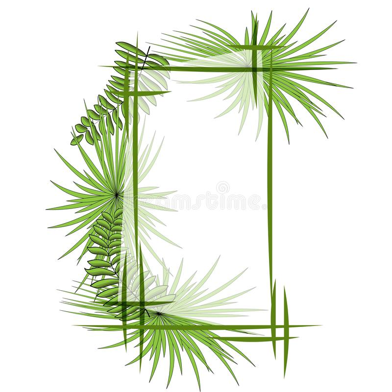 Groene tropische bladeren met kader Vector illustratie Eps 10 stock illustratie