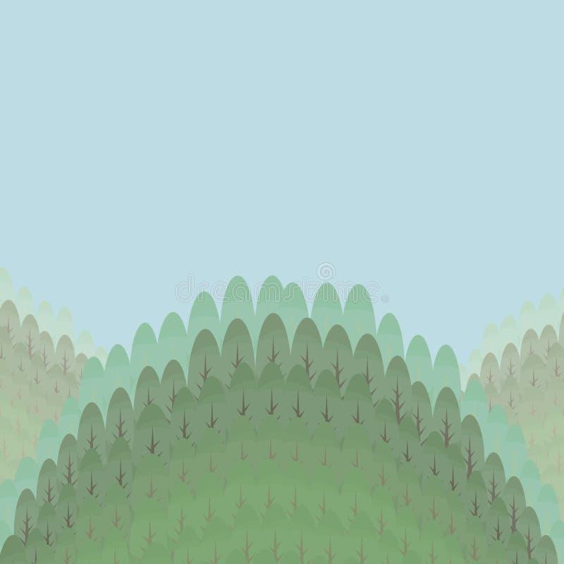Groene turkooise die heuvels met vergankelijk bos met de blauwe hemel vectorillustratie worden overwoekerd als achtergrond vector illustratie