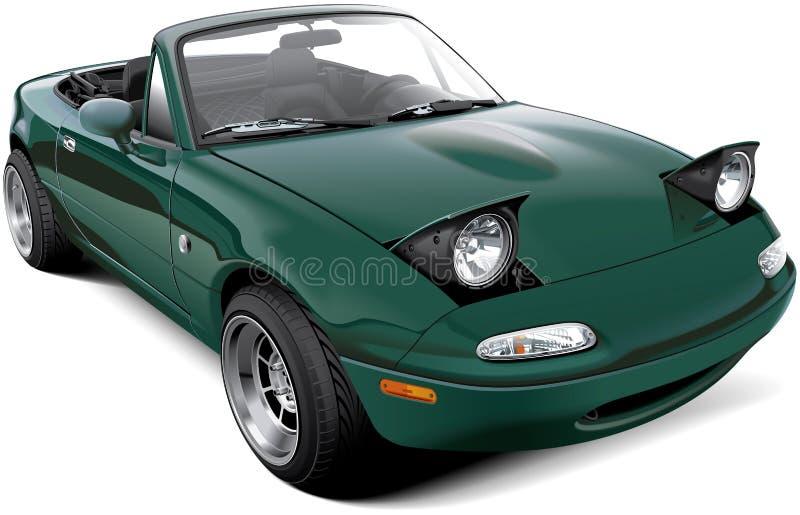 Groene two-seater open tweepersoonsauto met open koplampen vector illustratie