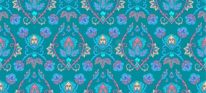 Groene uitstekende Islamitische bloemen vector naadloze het patroontegel van de ornamentstijl vector illustratie