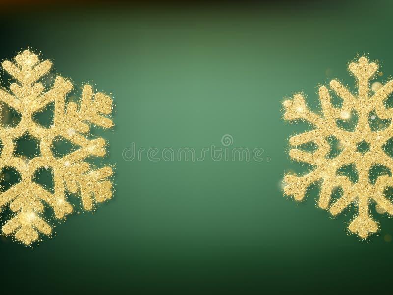 Groene vage bokeh lichten voor Kerstmis en Nieuwjaarviering Magisch malplaatje met glitteryachtergrond en stock illustratie