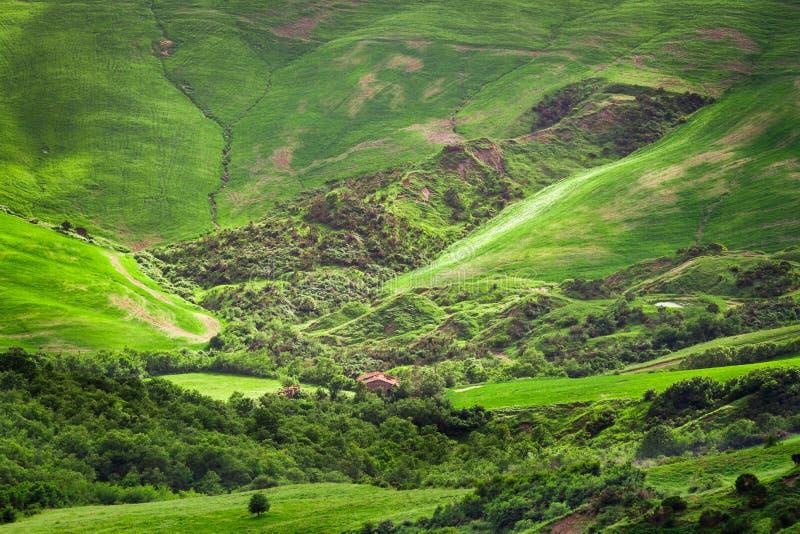 Groene vallei in de bergen van Toscanië royalty-vrije stock afbeeldingen