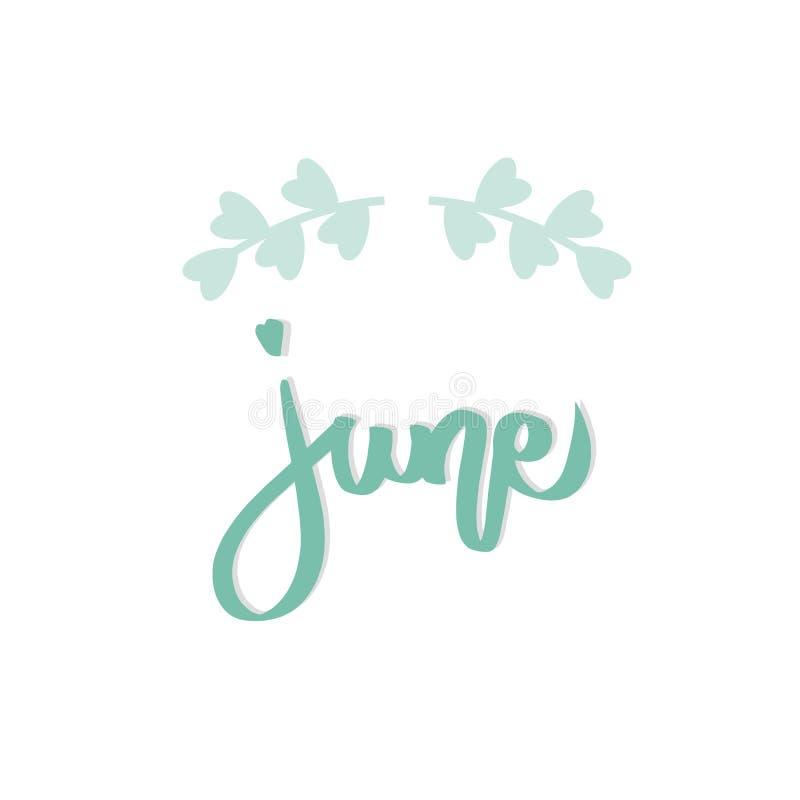 Groene van letters voorziende de druk vectortekst van Juni met bladerengrens De zomer minimalistische illustratie Ge?soleerde kal royalty-vrije illustratie