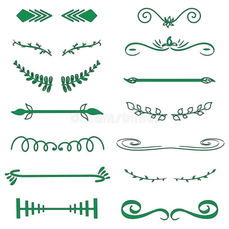Groene Vector decoratieve monogrammen en kalligrafische grenzen Malplaatjesignage, embleem, etiket, sticker Het klassieke huwelij stock illustratie
