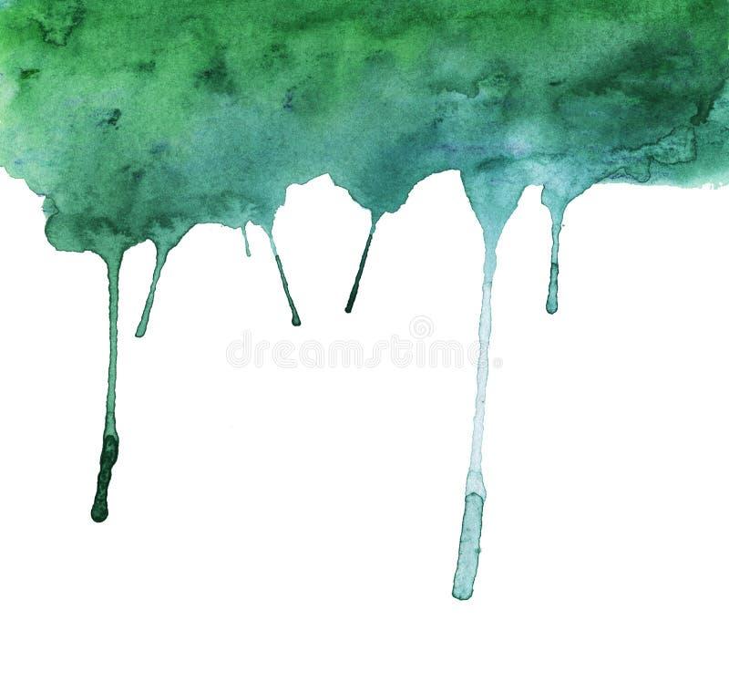 Groene verf die neer naar beneden stromen De illustratie van de waterverf stock illustratie