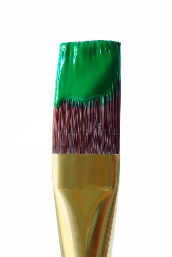 Groene Verf op het Penseel van de Kunstenaar stock afbeeldingen