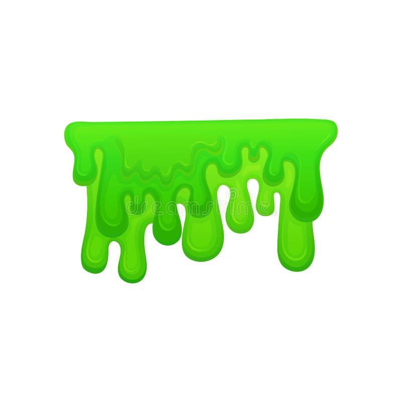 Groene verf of slijmdruppels en het stromen de geïsoleerde beeldverhaal vectorillustratie stock illustratie