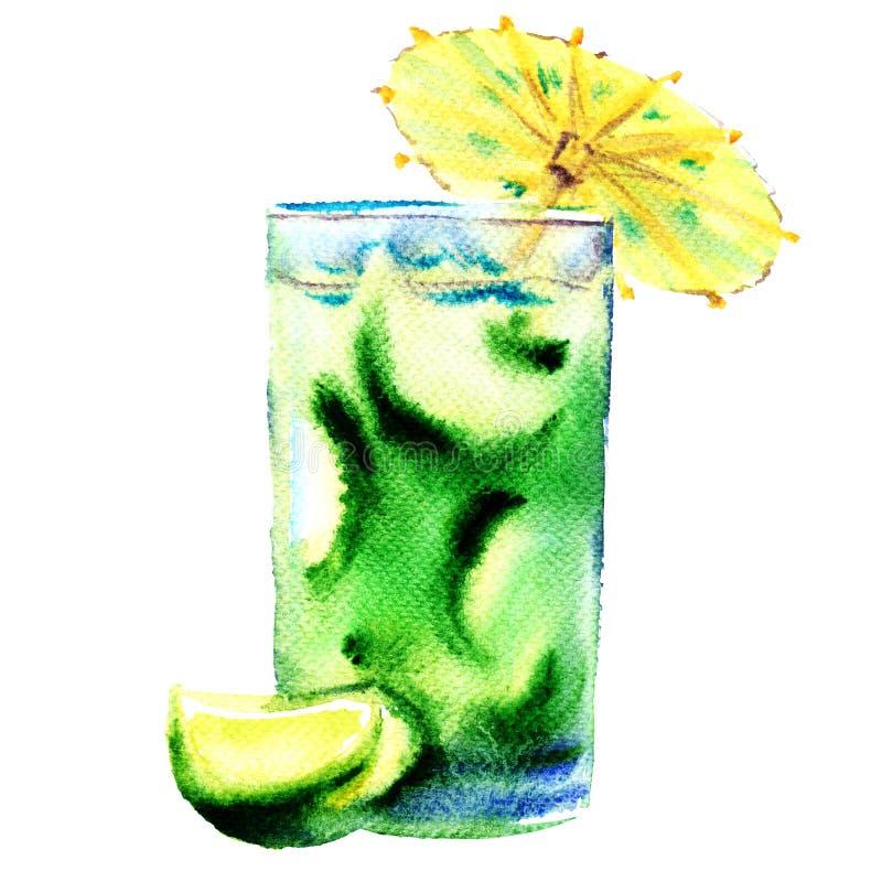 Groene verfrissende koude cocktail met geïsoleerde kalk, waterverfillustratie royalty-vrije illustratie
