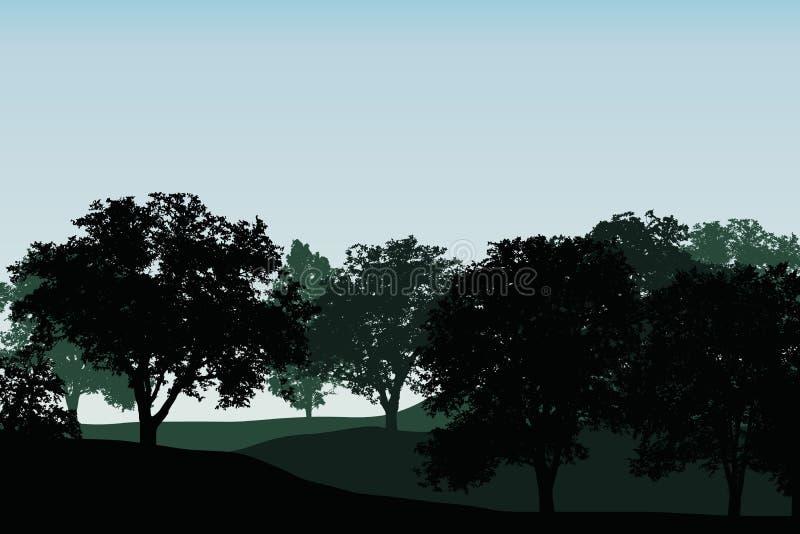 Groene vergankelijk bos of boomgaard tussen heuvels onder blauwe duidelijk royalty-vrije illustratie