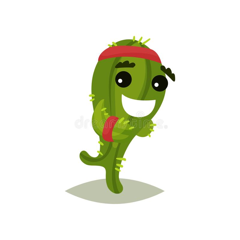 Groene vermenselijkte cactus die met het glimlachen gezicht lopen Grappige succulente installatie met rode hoofdband Vlak vectorp vector illustratie