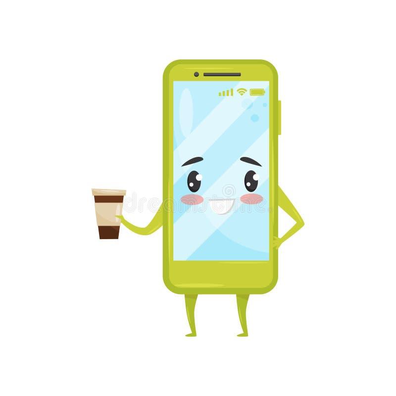 Groene vermenselijkte de koffiekop van de smartphoneholding Mobiele telefoon met aanbiddelijk gezicht Het karakter van het beeldv vector illustratie