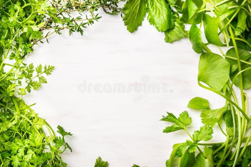Groene verse kruidenmengeling op witte houten achtergrond royalty-vrije stock foto's