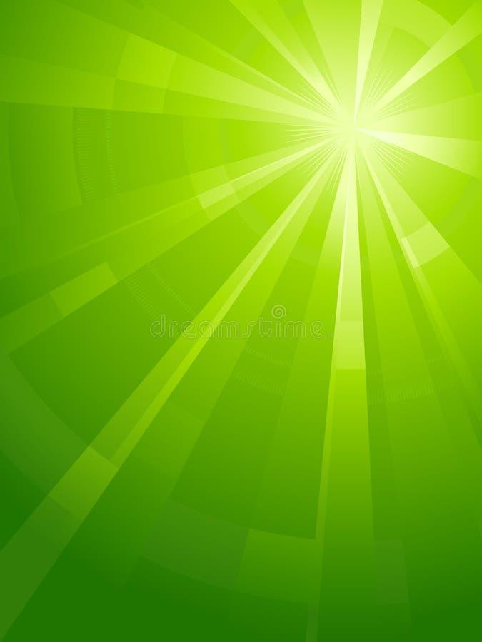 Groene verticale asymmetrische lichte uitbarsting stock illustratie