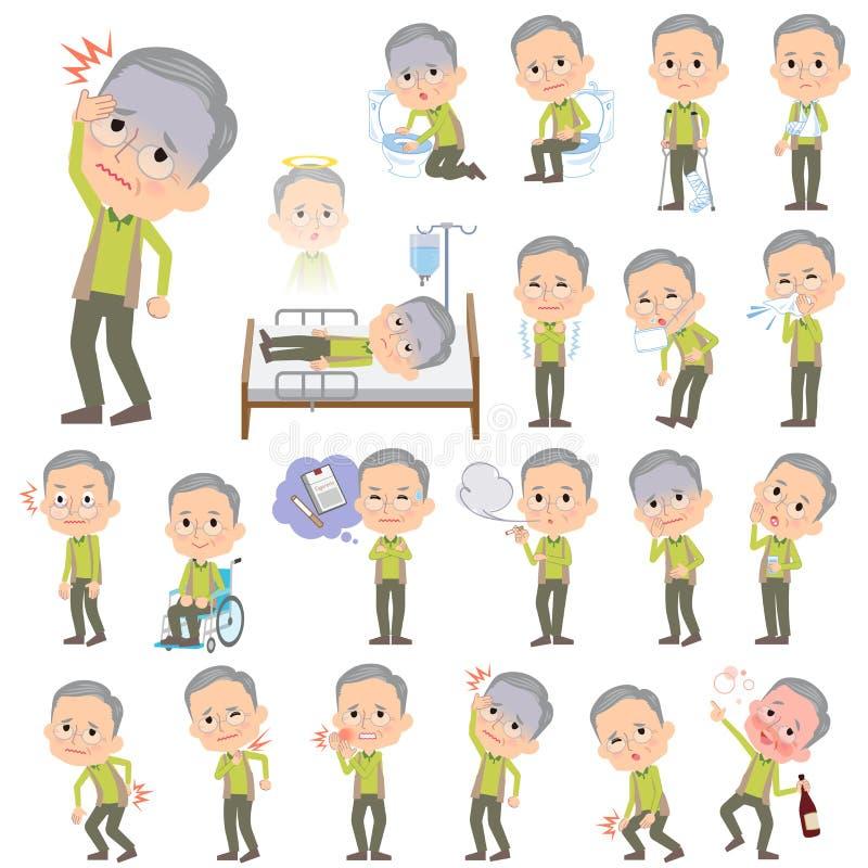 Groene vestgrootvader over de ziekte royalty-vrije illustratie