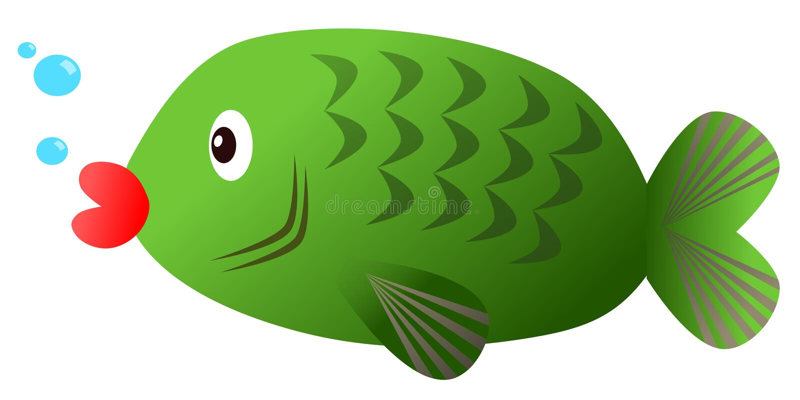 Groene vissen - karper op witte achtergrond royalty-vrije stock foto
