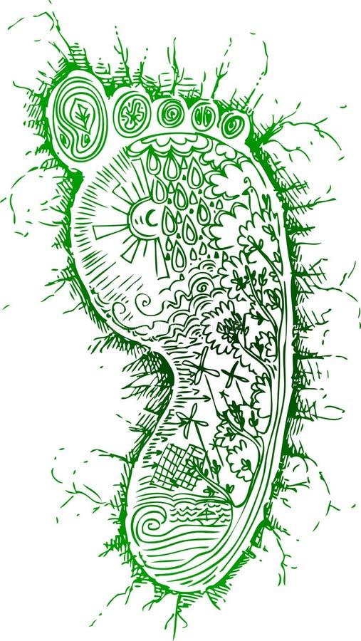 Schetsmatige krabbels: groene voetafdruk stock illustratie