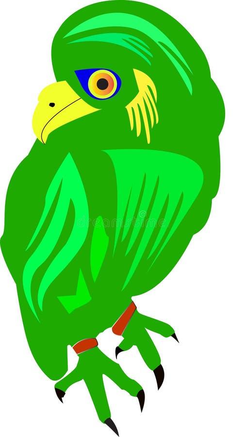 Groene vogel die neergestreken is stock illustratie