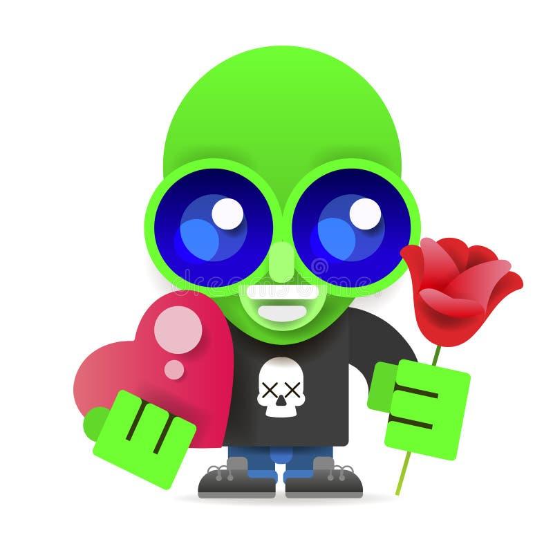 Groene vreemdeling met bloemen en hart vectorillustratie stock illustratie
