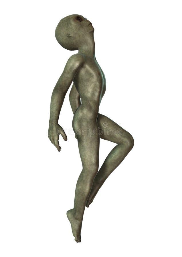 Groene Vreemdeling op Wit stock illustratie