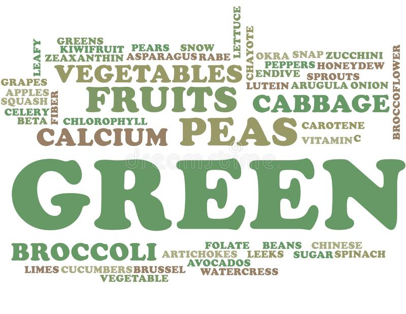 Groene vruchten en groenten - woordwolk royalty-vrije illustratie