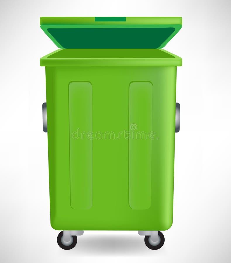 Groene vuilnisbak met GLB vector illustratie