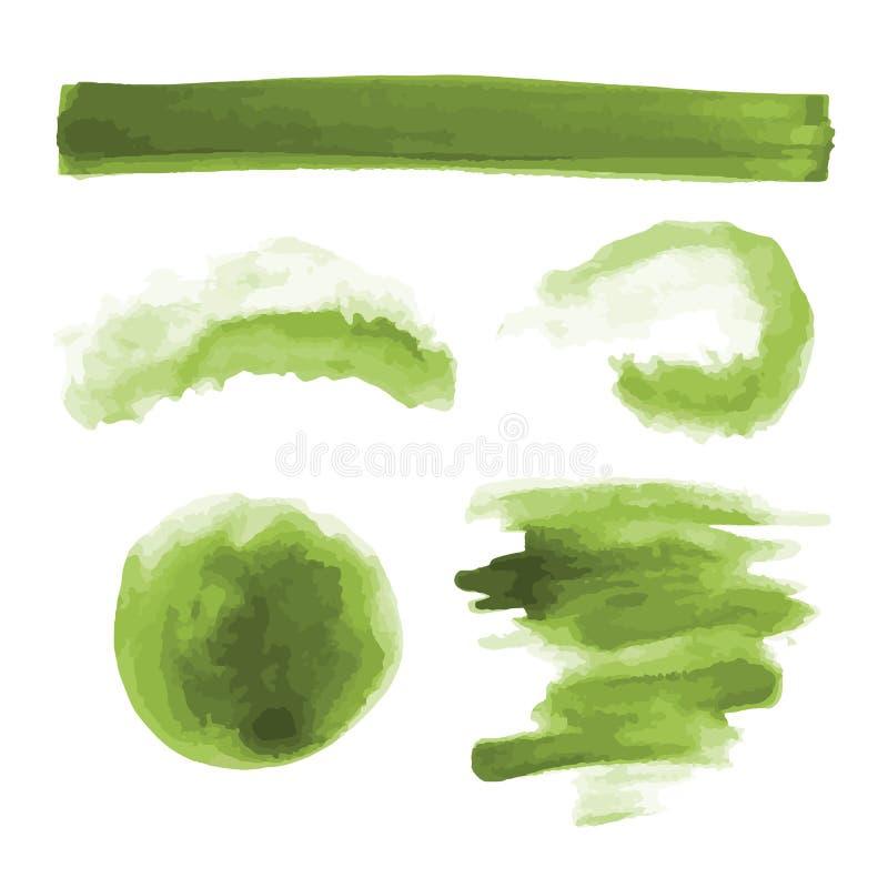 Groene waterverfvormen, splotches, vlekken, verfkwaststreken De abstracte geplaatste achtergronden van de waterverftextuur stock illustratie
