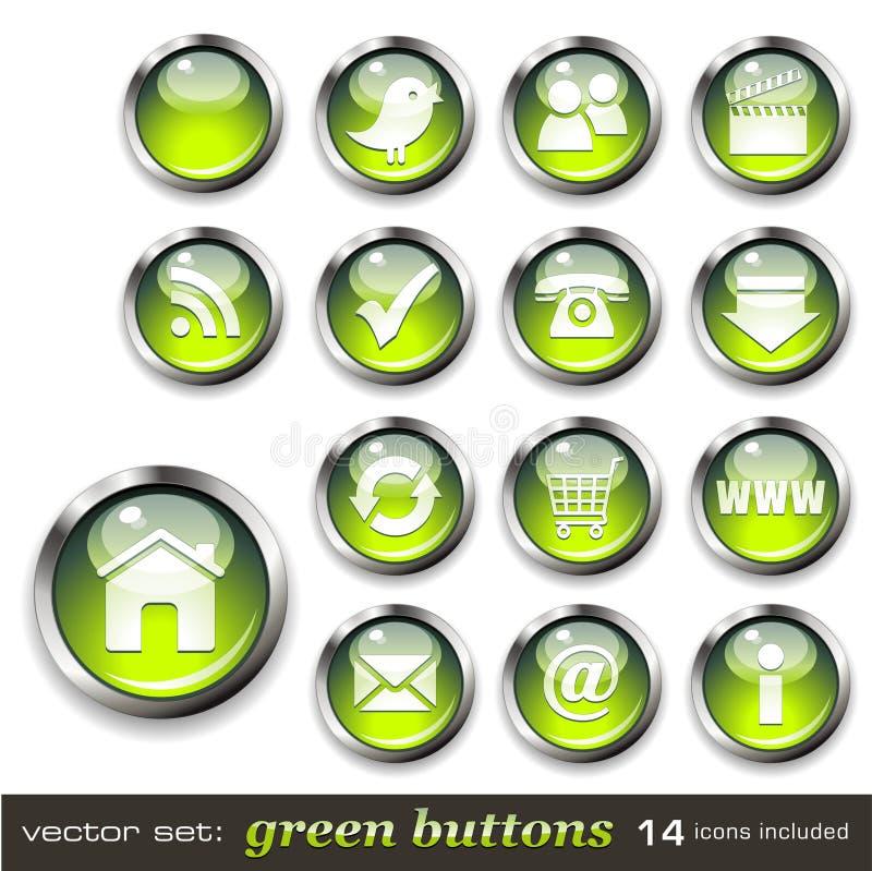 Groene Webknopen stock illustratie