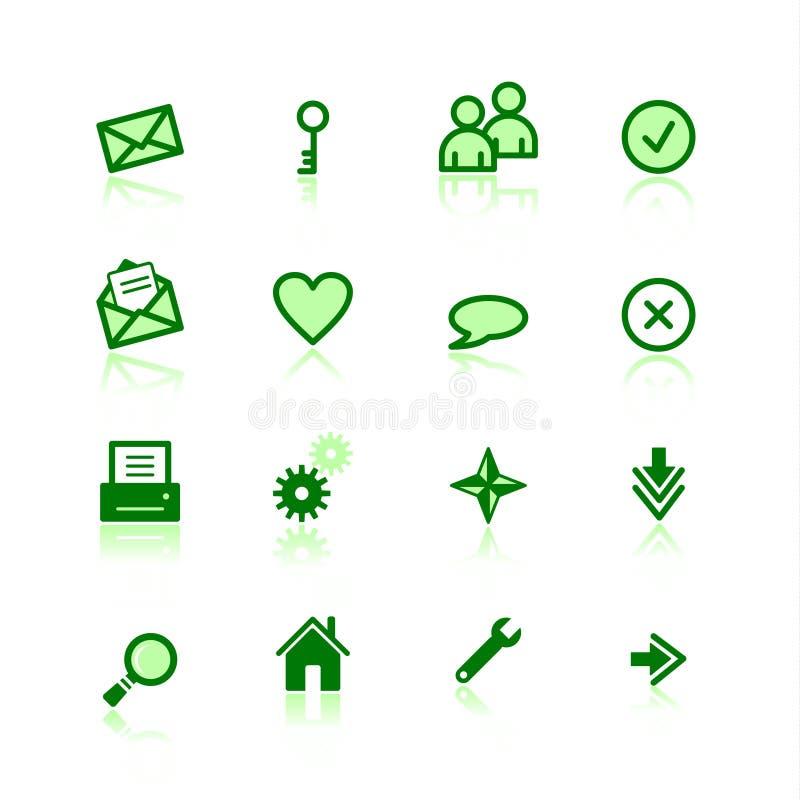 Groene Webpictogrammen vector illustratie