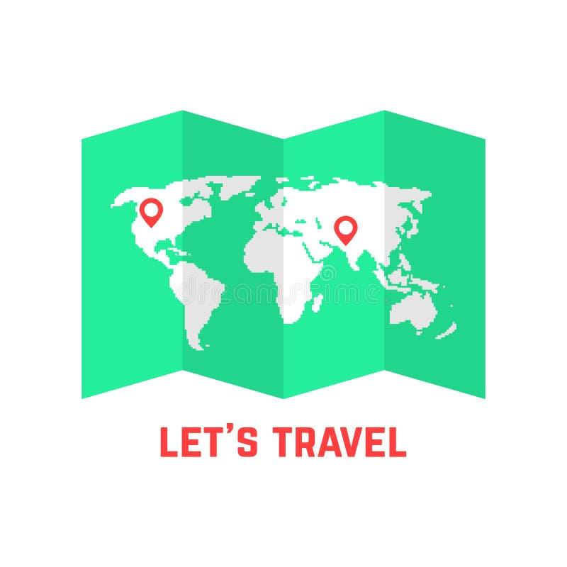 Groene wegenkaart met wereldbeeld royalty-vrije illustratie